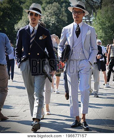 FLORENCE- 13 June 2017 Men on the street during the Pitti