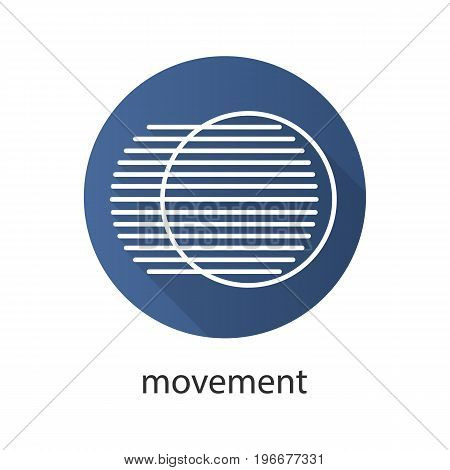 Movement flat linear long shadow icon. Dynamic motion concept. Vector outline symbol