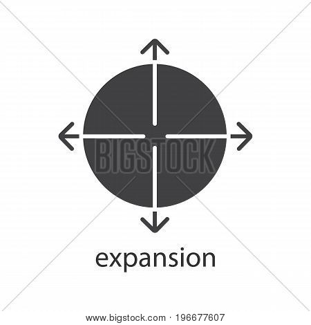 Expansion glyph icon. Silhouette symbol. Expand abstract metaphor. Negative space. Vector isolated illustration