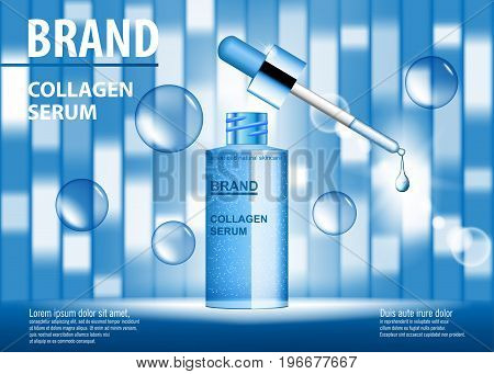 Cosmetic ads template, blue repair essence bottle with droplet on blue background with bubbles. vector illustration EPS 10