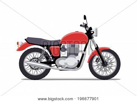red retro classic motorcycle design flat style. Isolated on white background