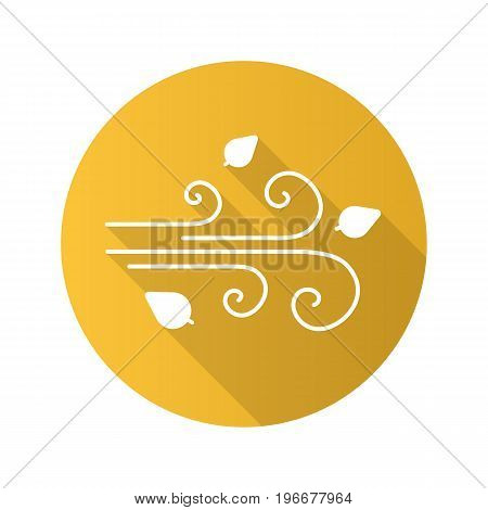 Wind blowing flat design long shadow glyph icon. Windy weather. Vector silhouette illustration