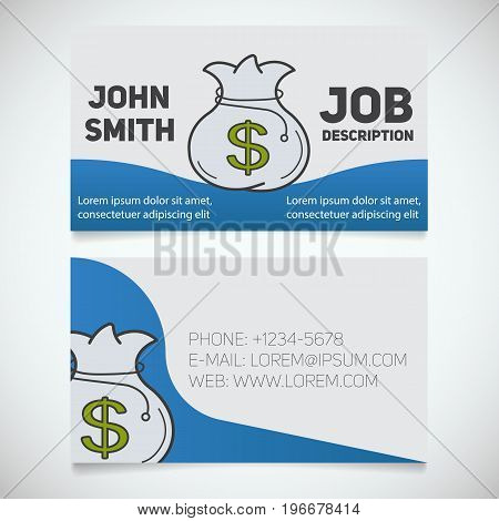 Business card print template with money bag logo. Manager. Banker. Accountant. Stationery design concept. Vector illustration