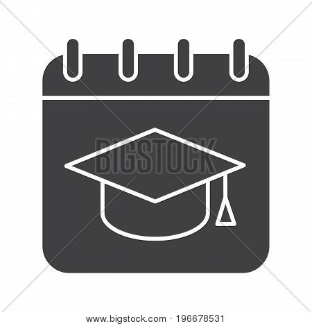 Graduation date glyph icon. Silhouette symbol. Calendar page with square academic hat. Negative space. Vector isolated illustration
