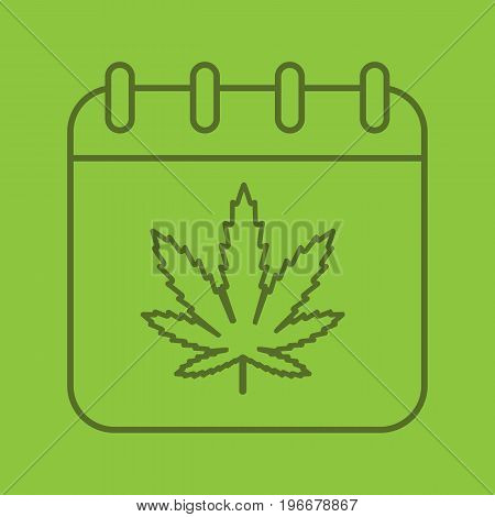 National Weed Day color linear icon. Calendar page with marijuana leaf. Thin line outline symbols on color background. Vector illustration