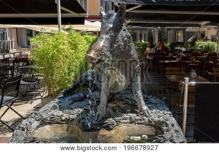 AIX-EN-PROVENCE FRANCE - JUNE 21 2017: Fountain of the Sanglier (Wild Boar) in Aix-en-Provence. France