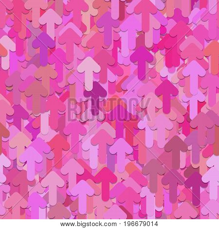 Seamless random arrow pattern background - vector graphic design from forward rounded arrows in pink tones with shadow effect