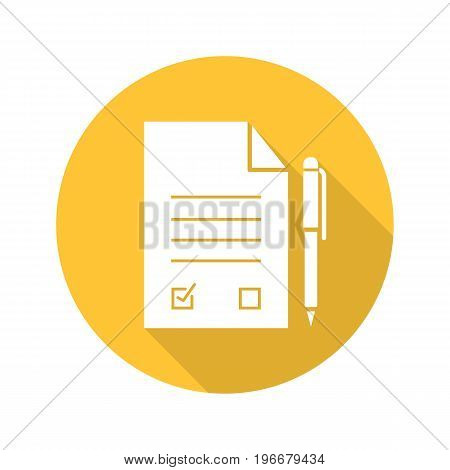 Signed contract with pen. Flat design long shadow glyph icon. Agreement. Vector silhouette illustration