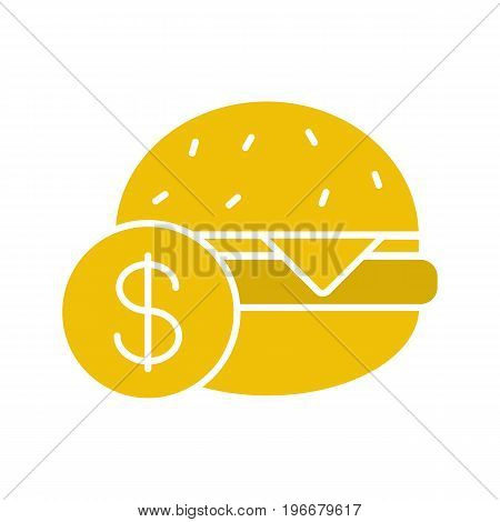 Buy hamburger glyph color icon. Burger price. Silhouette symbol on white background. Negative space. Vector illustration