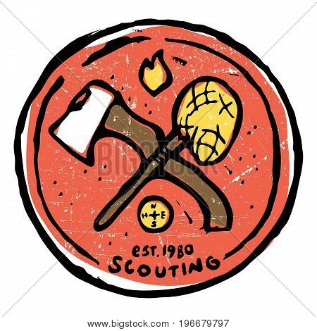 Scouting club round emblem with crossed ax and nettle. Compass and flame symbols around. Colored illustration