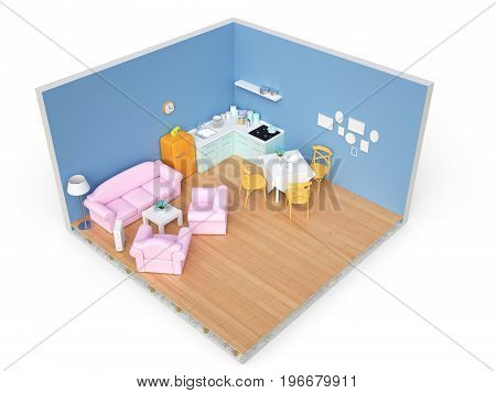 Home appliances and furniture isolated. 3d illustration