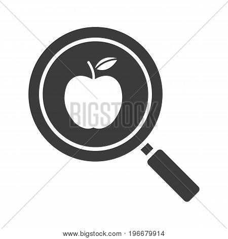 Healthy food search glyph icon. Silhouette symbol. Magnifying glass with apple. Negative space. Vector isolated illustration
