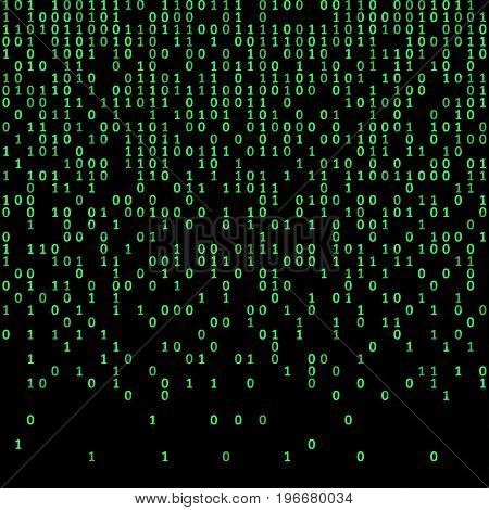 Binary code green and dark background, digits on screen. Algorithm binary, data code, decryption and encoding, row matrix, vector illustration.