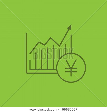 Market growth chart color linear icon. Statistics diagram with yen sign. Thin line outline symbols on color background. Vector illustration