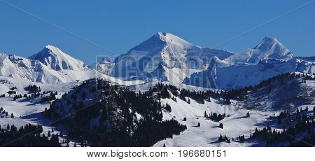 Winter scene in the Bernese Oberland. View from mount Rellerli.