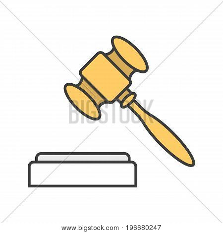 Gavel, court hammer color icon. Justice, jurisdiction symbol. Auction bid. Vendue. Isolated vector illustration