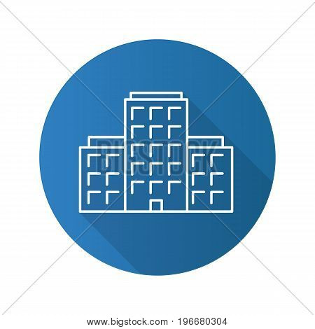 Multi-storey building flat linear long shadow icon. Apartment house. Tower block. Vector outline symbol