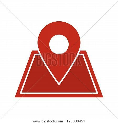 Building location pinpoint glyph color icon. Real estate development. House planning. Silhouette symbol on white background. Negative space. Vector illustration