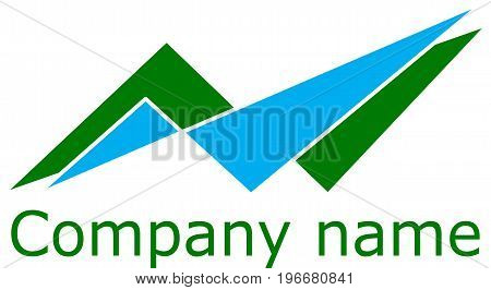 Logo abstraction, triangles of green and blue, vector.EPS10