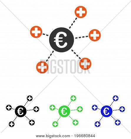 Euro Medical Links vector icon. Illustration style is a flat iconic colored symbol with different color versions.