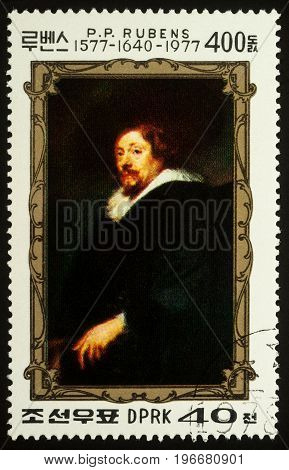 Moscow Russia - July 24 2017: A stamp printed in DPRK (North Korea) shows self-portrait of Flemish painter Peter Paul Rubens dedicated to the 400th Anniversary of the Birth of P.P. Rubens (1577-1640) circa 1977