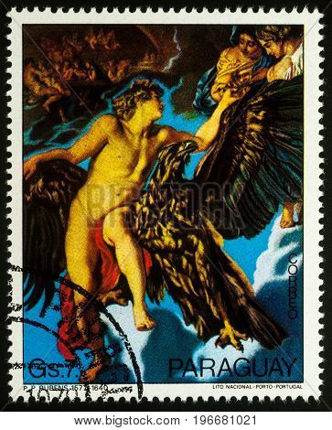 Moscow Russia - July 23 2017: A stamp printed in Paraguay shows painting Abduction of Ganymede by Rubens series