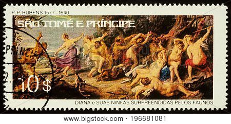 Moscow Russia - July 23 2017: A stamp printed in Sao Tome and Principe shows painting Diana and her Nymphs Surprised by Fauns (1638-1640) by Rubens series