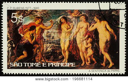 Moscow Russia - July 23 2017: A stamp printed in Equatorial Guinea shows painting The Judgment of Paris by Rubens series