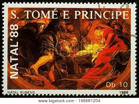 Moscow Russia - July 23 2017: A stamp printed in Sao Tome and Principe shows painting Nativity scene by Rubens series