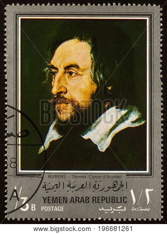 Moscow Russia - July 24 2017: A stamp printed in Yemen Arab Republic shows portrait of Thomas Comte d'Arundel by Rubens series