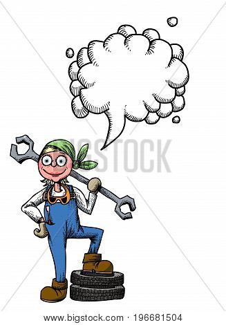 Cartoon image of female mechanic. An artistic freehand picture. With speech bubble.