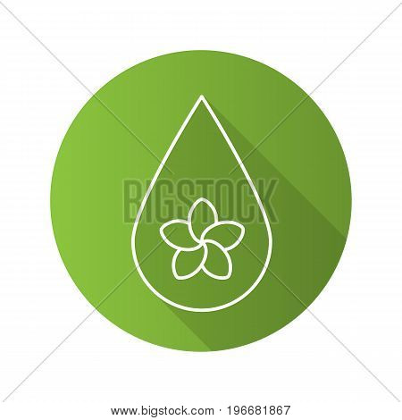 Aromatherapy oil drop flat linear long shadow icon. Spa salon oil drop with plumeria flower inside. Vector outline symbol