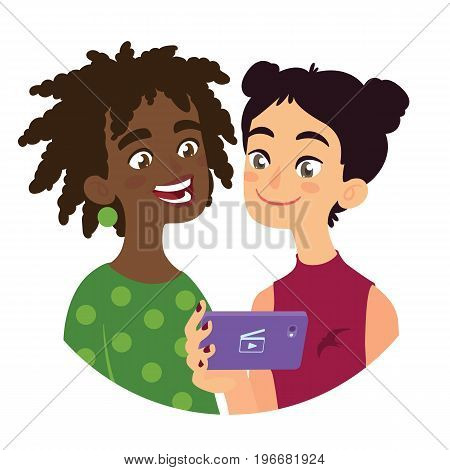 Friend is sharing video to a friend. Vector illustration of international friendship in flat cartoon style on a white background. Two young girls of different culture watching film using a smart phone.
