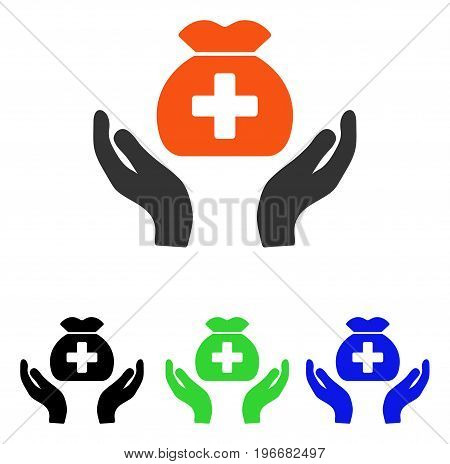 Medical Fund Care Hands vector pictograph. Illustration style is a flat iconic colored symbol with different color versions.