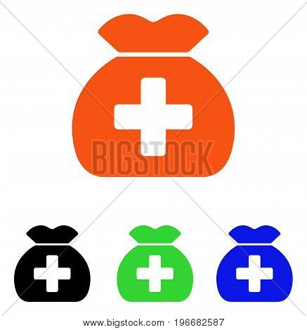 Medical Fund Sack vector pictogram. Illustration style is a flat iconic colored symbol with different color versions.