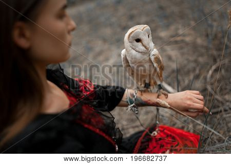Girl in red and black dress sits on grass with owl on her hand in forest. Owl is tied to her arm by chain. Close-up.