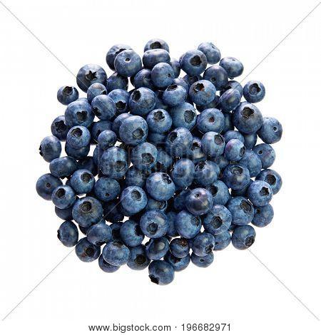 Fresh blueberries over white background.
