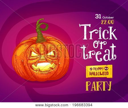 Halloween trick or treat pumpkin design background. Vector illustration. Hand drawn engraved pumpkin and lettering for poster design. Horizontal poster design.