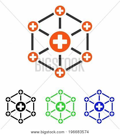 Medical Network vector pictogram. Illustration style is a flat iconic colored symbol with different color versions.