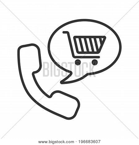 Goods phone order linear icon. Shopping by phone. Thin line illustration. Handset with shopping cart inside speech bubble. Supermarket products delivery contour symbol. Vector isolated outline drawing