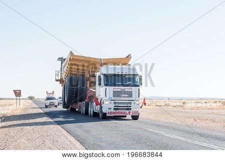 ASAB NAMIBIA - JUNE 14 2017: Abnormal load on the B1-road near Asab between Keetmanshoop and Mariental
