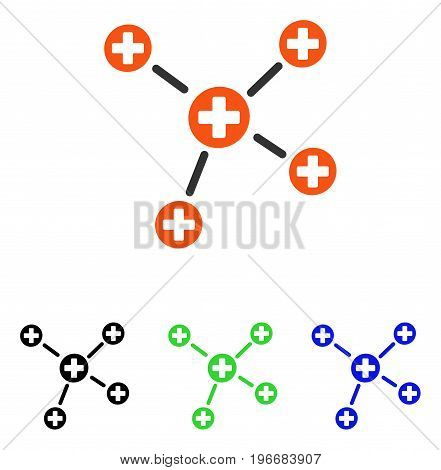 Medicine Links vector icon. Illustration style is a flat iconic colored symbol with different color versions.