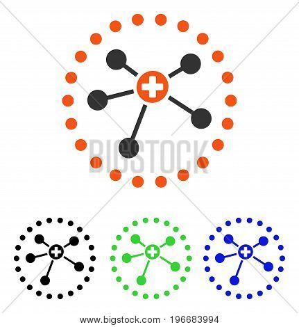 Rounded Medical Connections vector pictograph. Illustration style is a flat iconic colored symbol with different color versions.