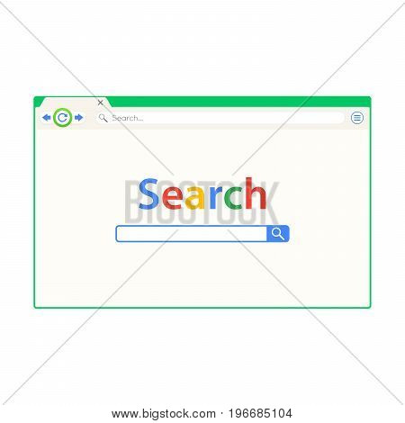 Green cute browser window vector illustration. Web browser in flat style with long shadow.