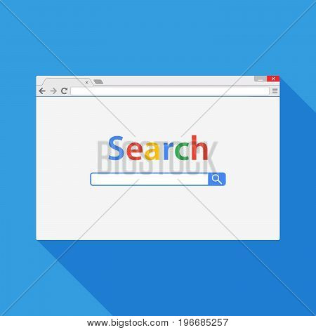 Browser window vector illustration. Browser or web browser in flat style with long shadow. Window concept internet browser. Mockup browser screen design.