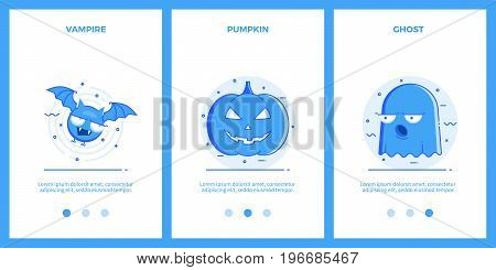 Halloween Icons - vampire, halloween pumpkin, ghost. Outline blue banners, screens for mobile apps and web sites. Vector illustration.