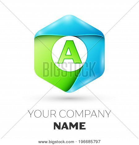 Letter A vector logo symbol in the colorful hexagonal on white background. Vector template for your design