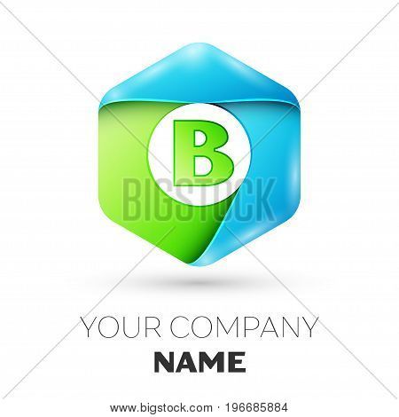 Letter B vector logo symbol in the colorful hexagonal on white background. Vector template for your design