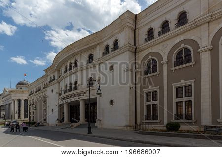 SKOPJE, REPUBLIC OF MACEDONIA - 13 MAY 2017: Macedonian National Theater in city of  Skopje, Republic of Macedonia