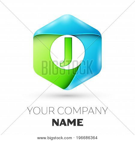 Letter J vector logo symbol in the colorful hexagonal on white background. Vector template for your design